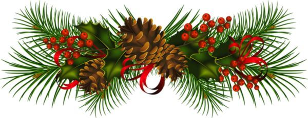 Garland transparent christmas pine cones clipart scrapbooking.