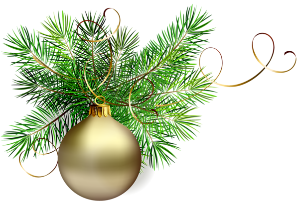 Transparent Gold Christmas Ball with Pine Clipart.
