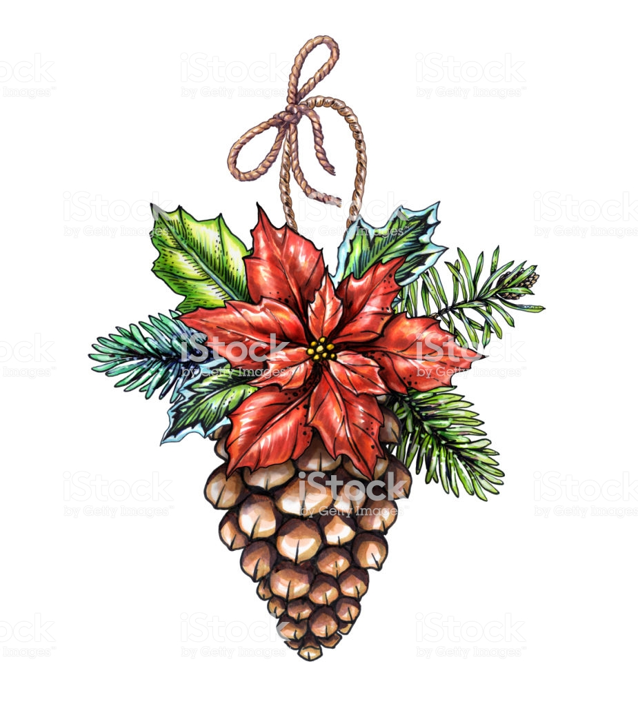 Watercolor Christmas Ornament Decorated Pine Cone Illustration Winter  Holiday Clip Art Isolated On White Background Stock Illustration.