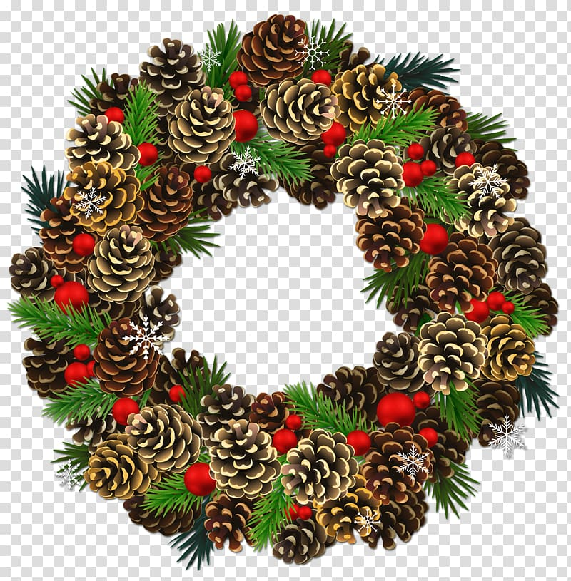 Green, red, and brown Christmas pine cone wreath, Conifer cone Pine.