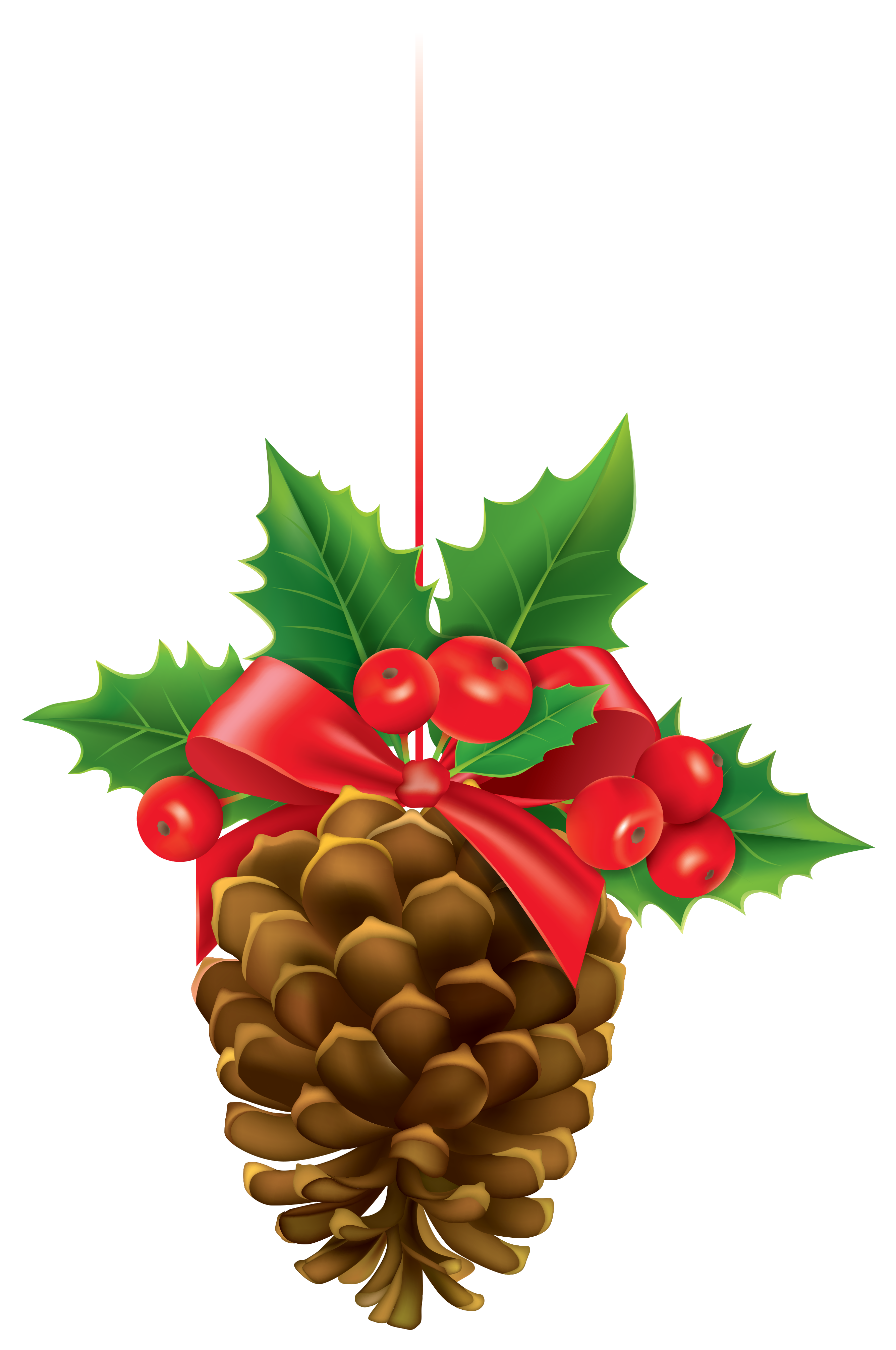 Christmas Pinecone with Mistletoe PNG Clipart Image.