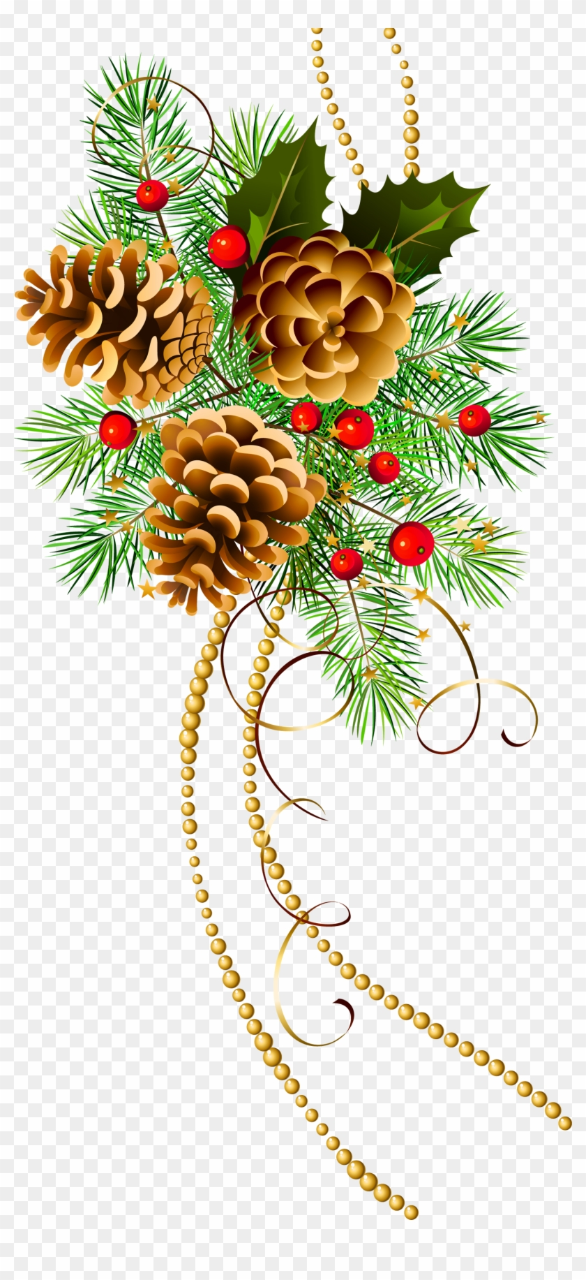 Three Christmas Cones With Pine Branch Clipart.