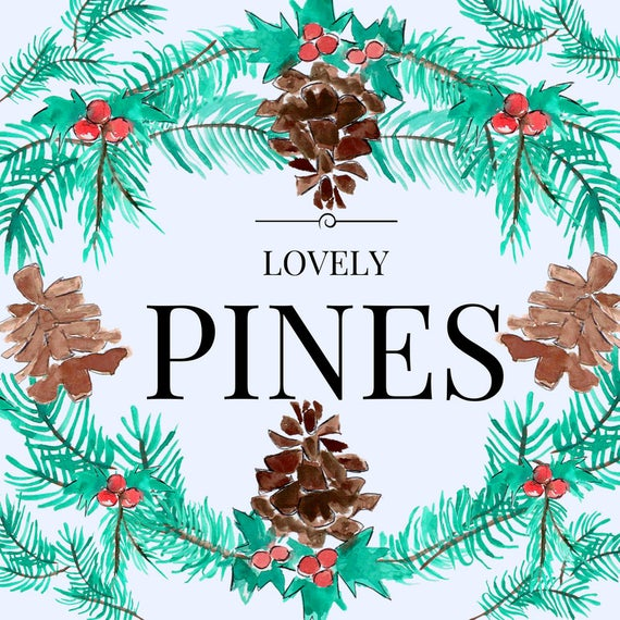 Watercolor christmas clipart, pine cone, holly, holiday wreath, winter  graphics, commercial use.