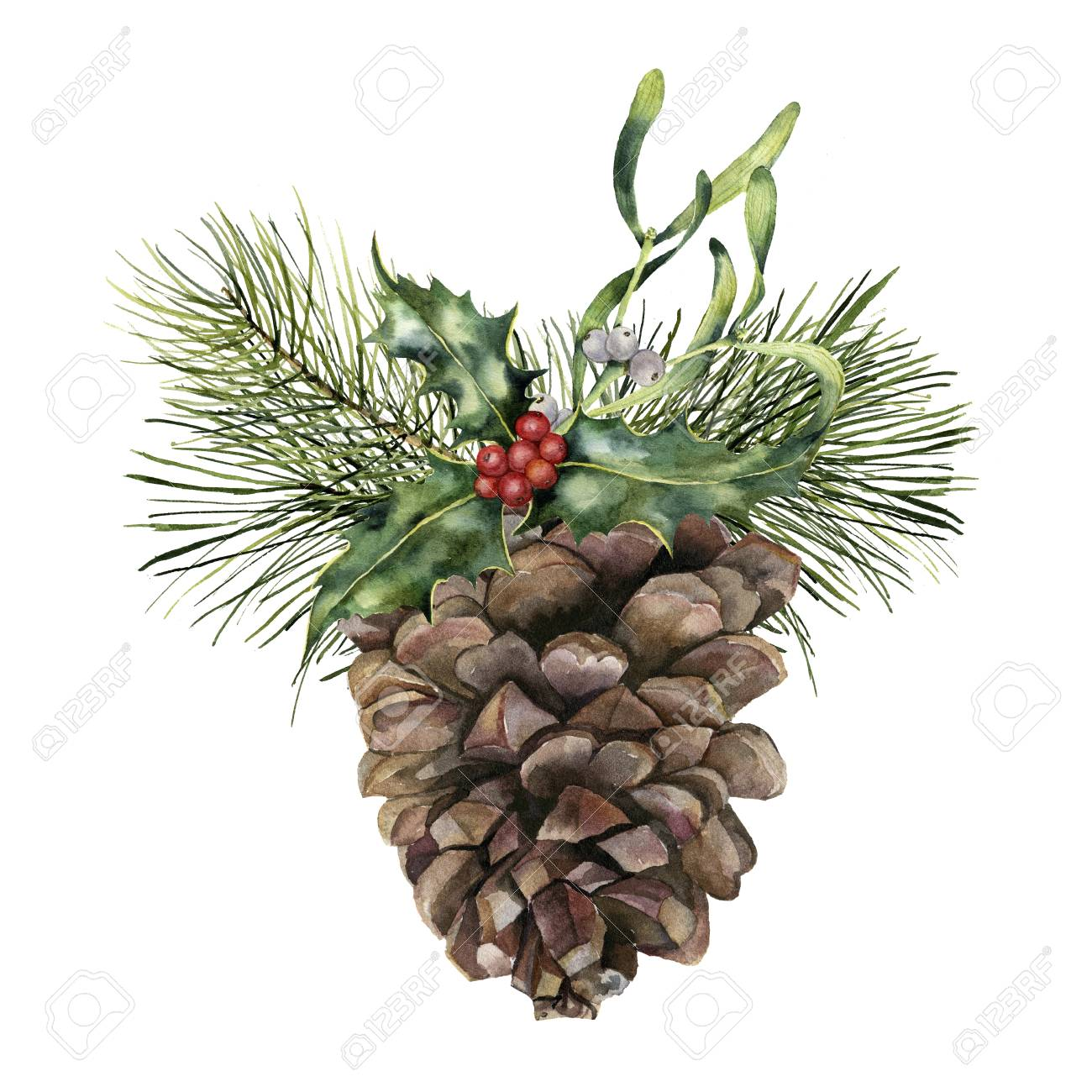 Watercolor pine cone with Christmas decor. Hand painted pine...