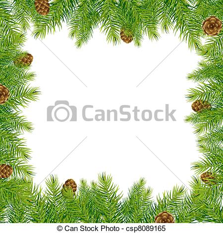 Border With Christmas Tree And Pine Cone.