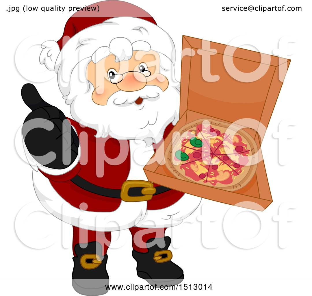 Clipart of a Christmas Santa Claus Holding a Pizza in a Box.