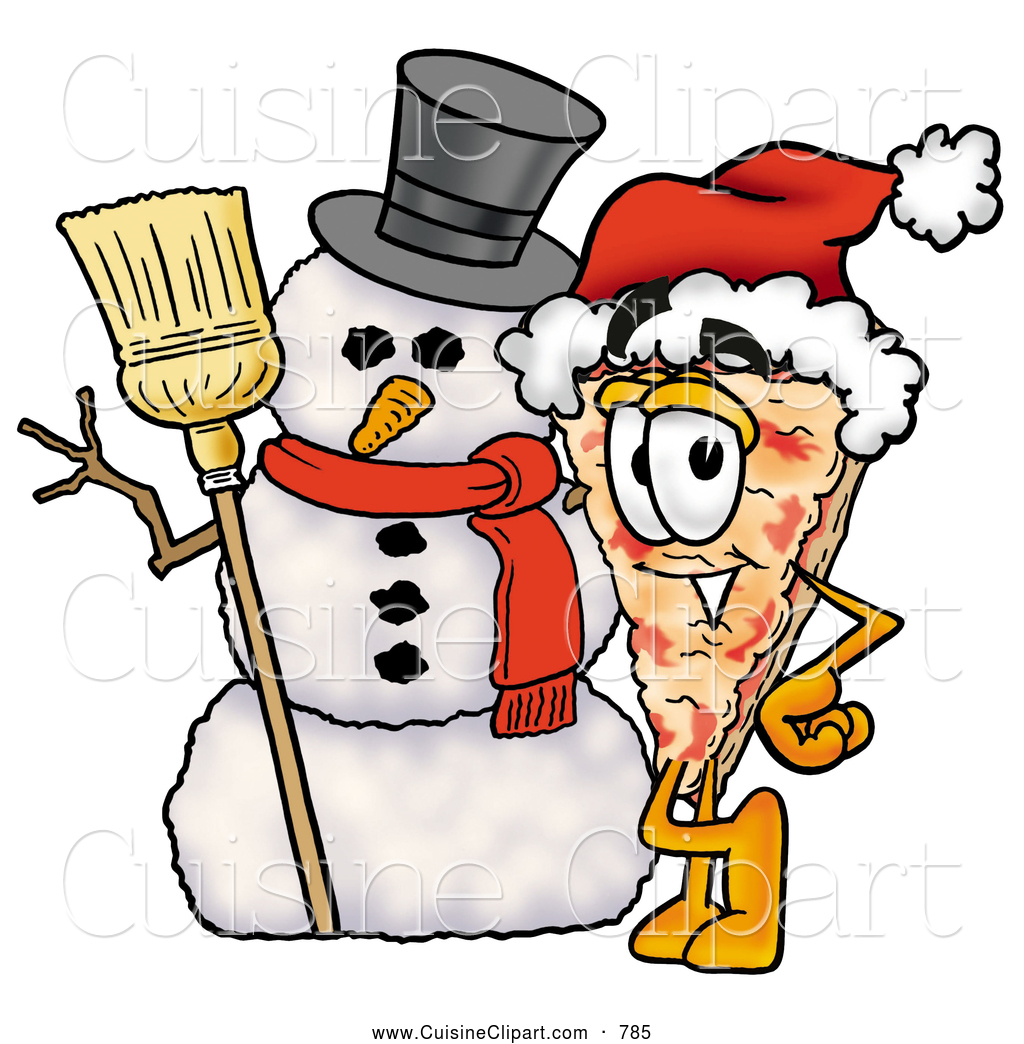 Cuisine Clipart of a Slice of Happy Pizza Mascot Cartoon Character.