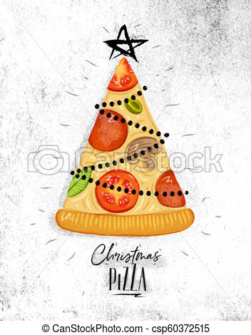 Poster christmas tree pizza.