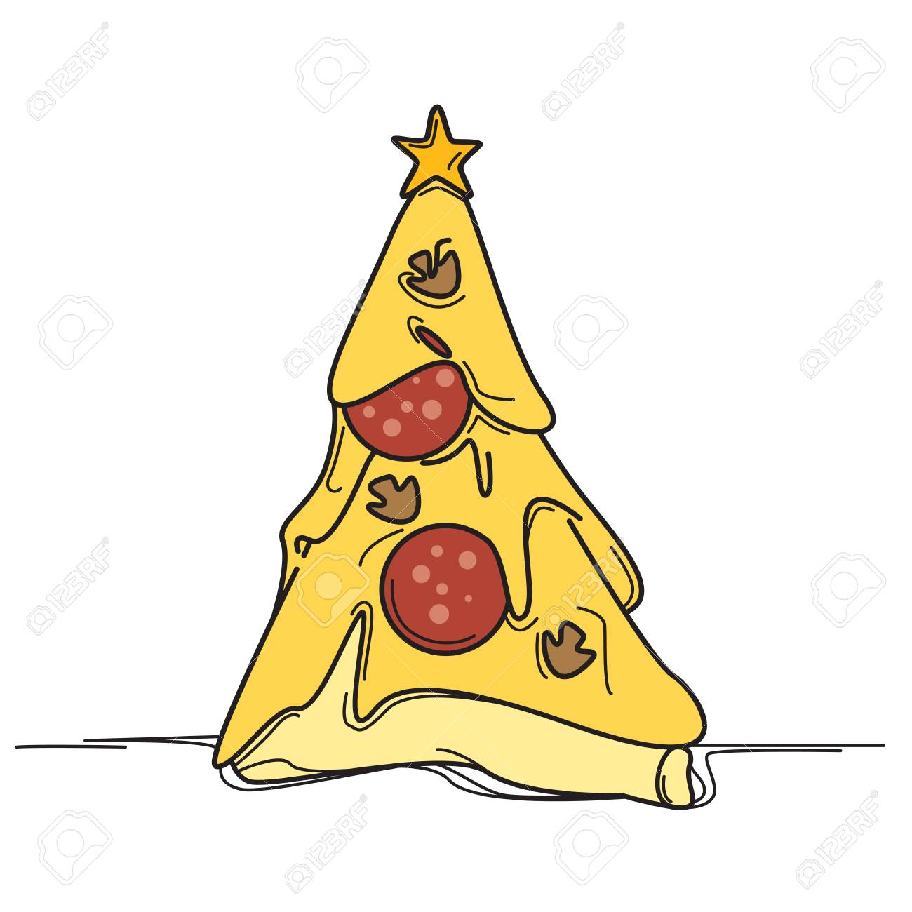 Pizza Christmas tree icon..