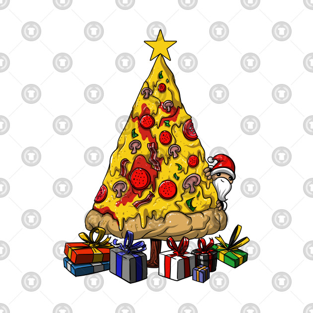Pizza Christmas Tree Funny Party by underheaven.