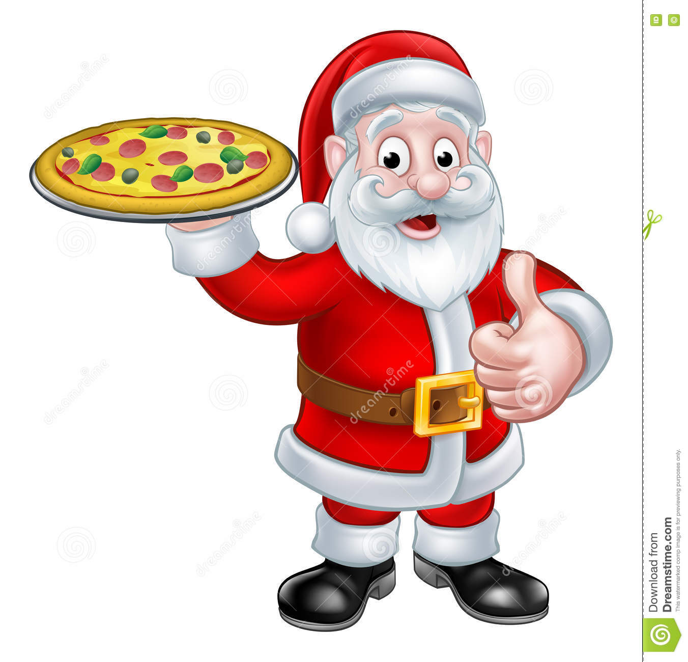 Cartoon Santa Claus Holding Pizza Stock Vector.