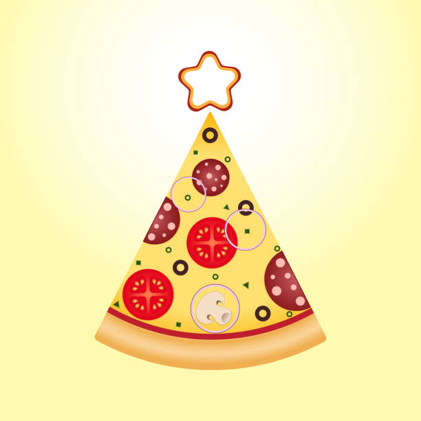 Best Christmas Pizza Illustrations, Royalty.