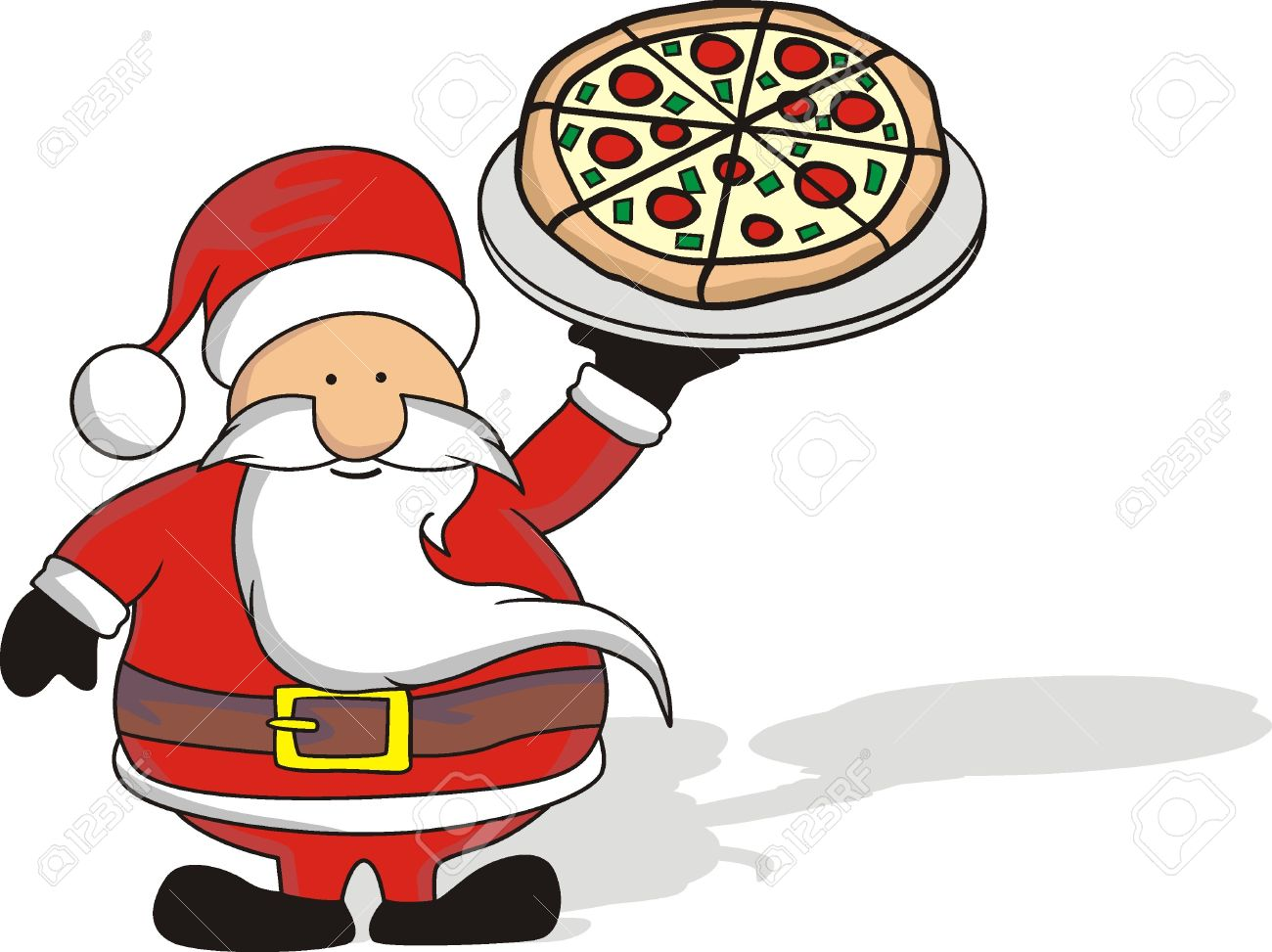 santa and pizza.