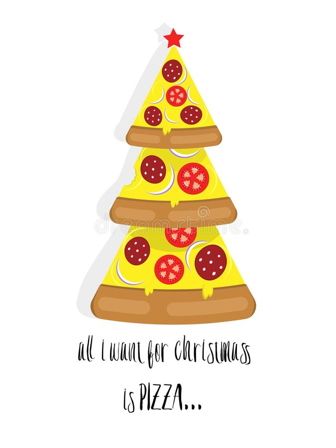 Christmas Pizza Stock Illustrations.