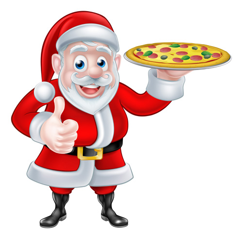 Christmas pizza with santa chef vector free download.