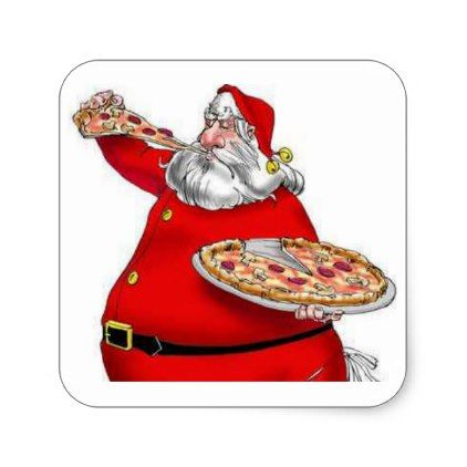 Vintage Santa Claus Eating Pizza Square Sticker.