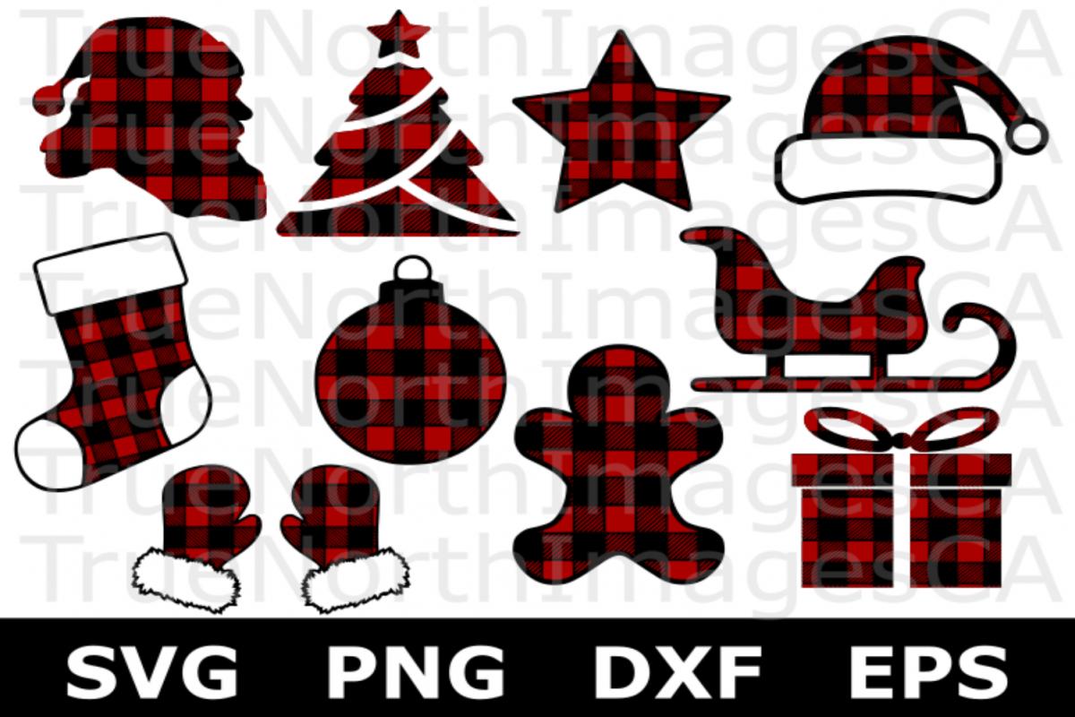 Plaid Christmas Clipart Bundle.