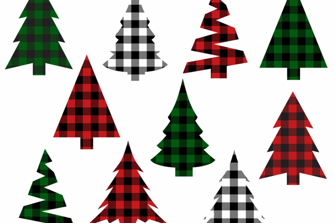Christmas Tree Buffalo Check Plaid Clip Art Bundle.