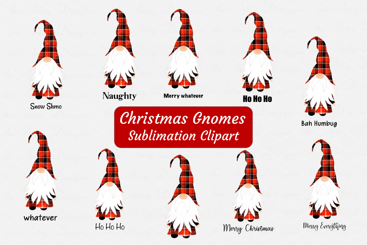 Christmas Gnomes Buffalo Plaid Sublimation ClipArt Bundle.