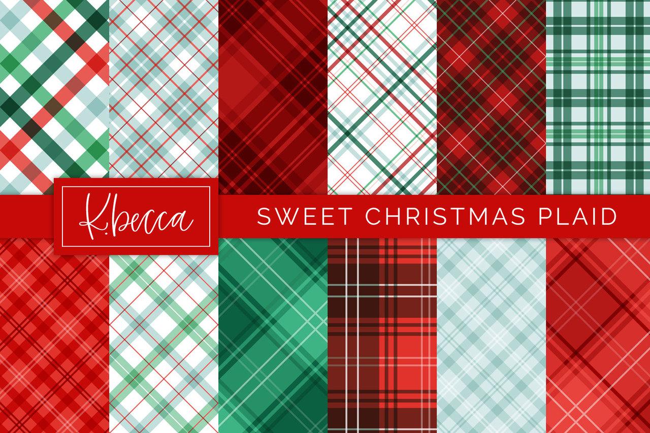 Sweet Christmas Plaid Digital Papers.