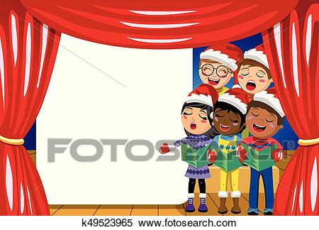 Multicultural kids wearing xmas hat singing Christmas carol nativity play  stage copyspace Clipart.