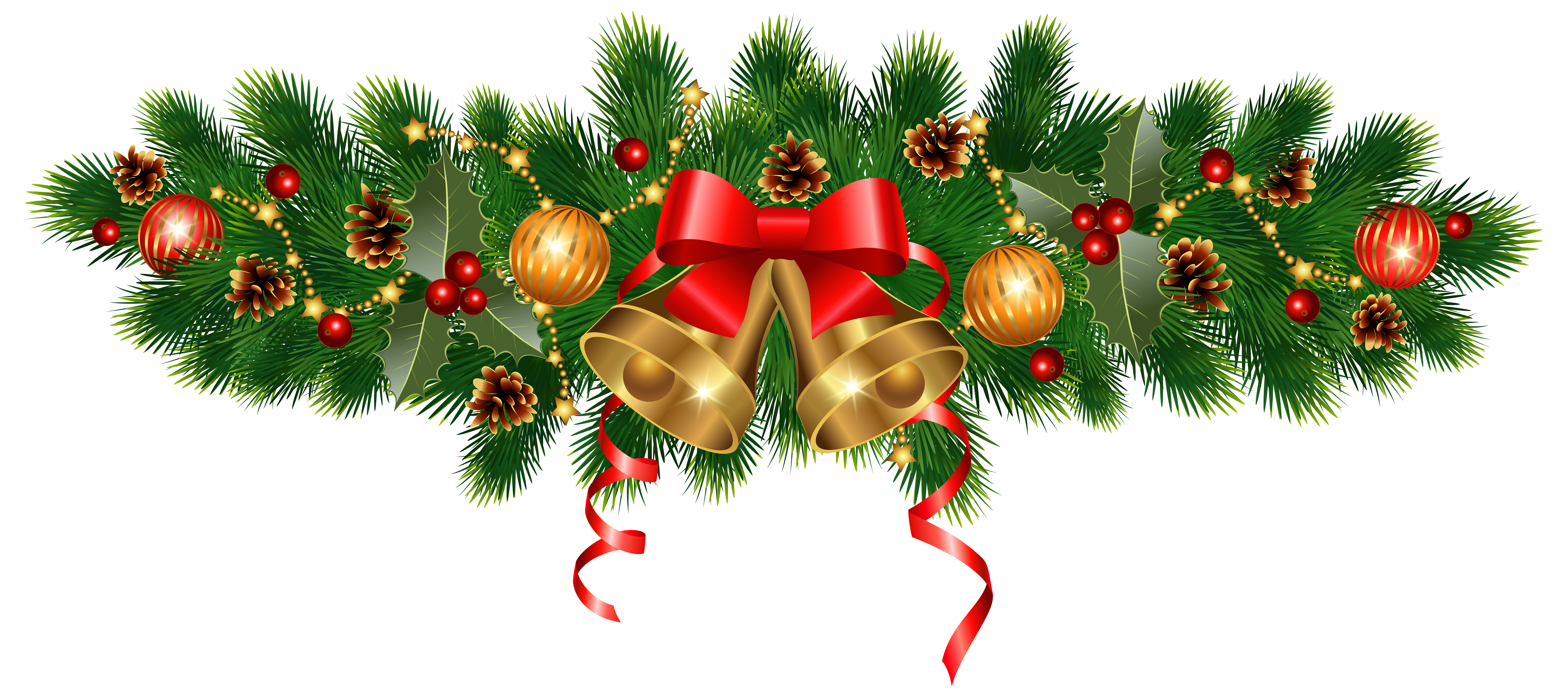 Christmas Golden Bells and Ornaments Decoration PNG Clipart Image.