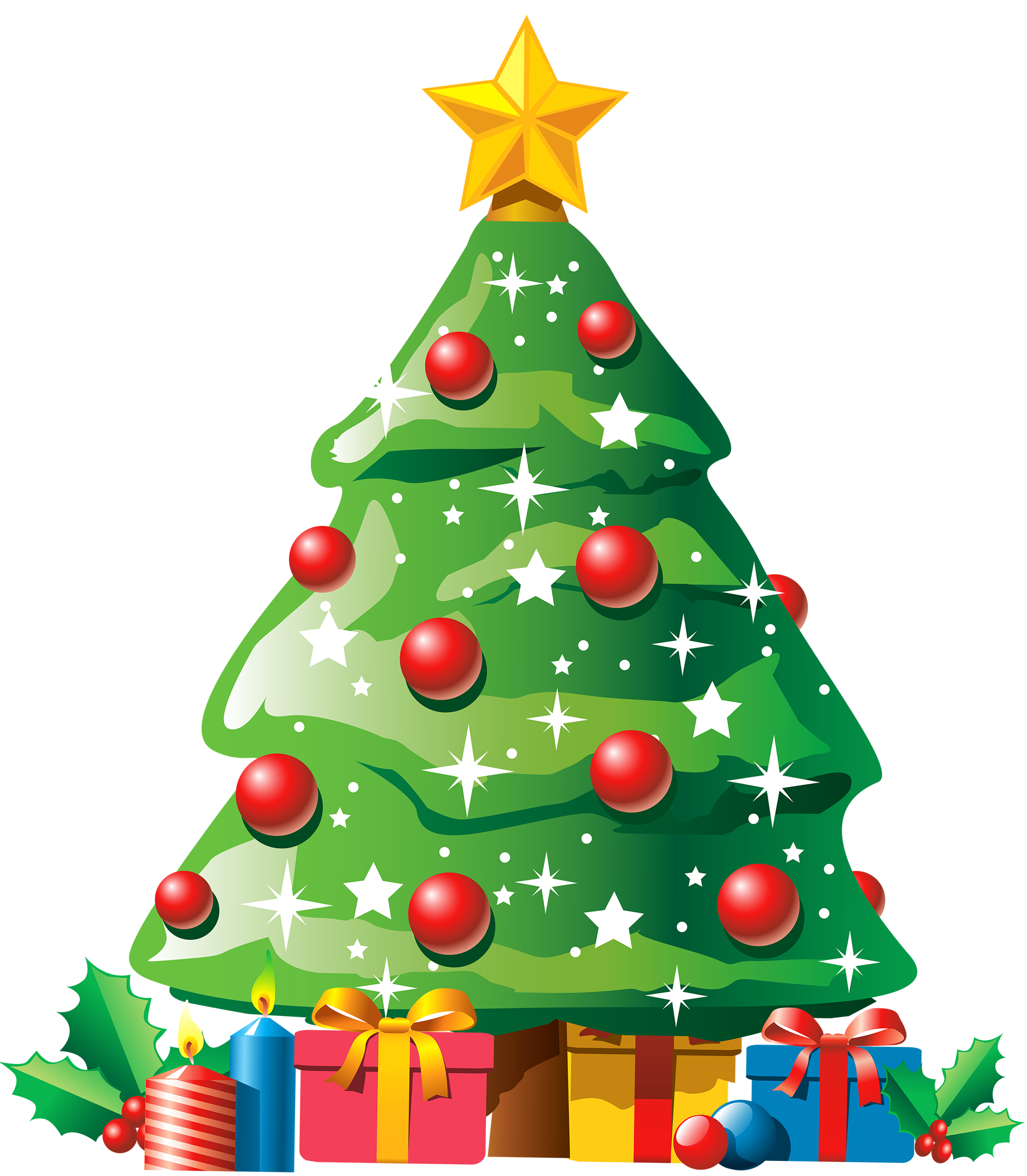 Christmas Tree with Gifts PNG Clipart.