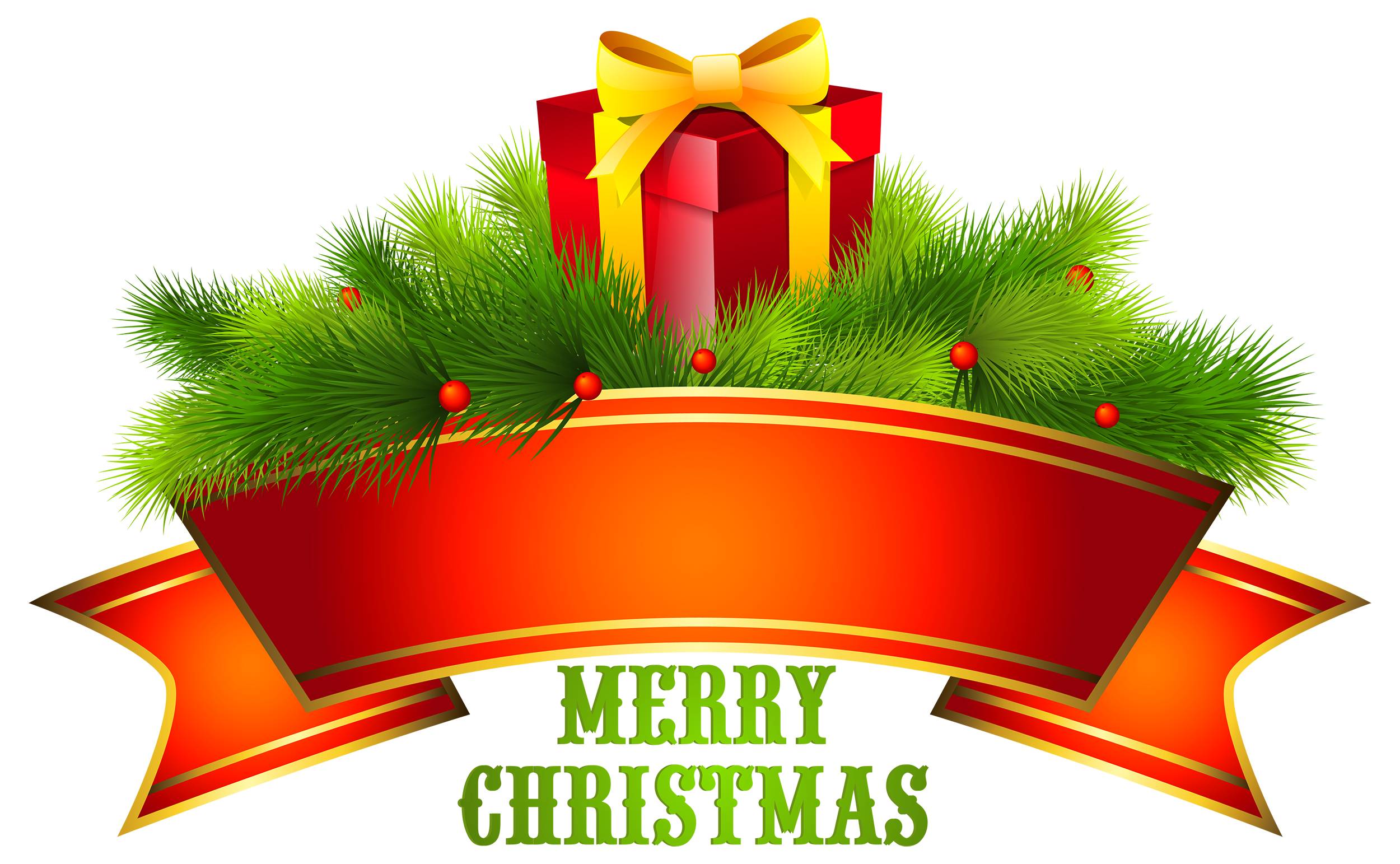 Merry Christmas Text Decor PNG Clipart.