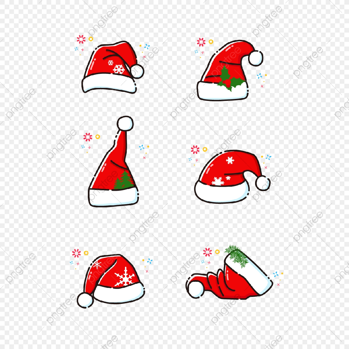 Hand Drawn Christmas Hat Elements, Cartoon, Cute, Christmas PNG and.