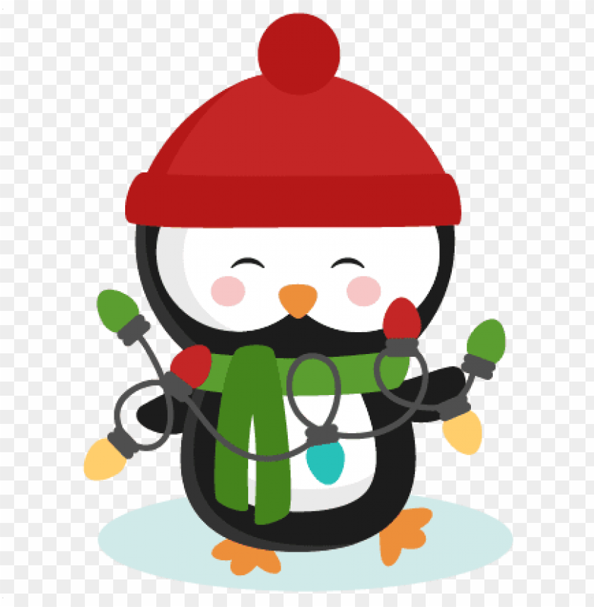cute penguin christmas PNG image with transparent background.