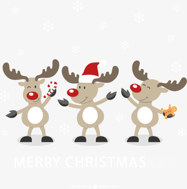 Cute Cartoon Reindeer Vector Material, C #27384.