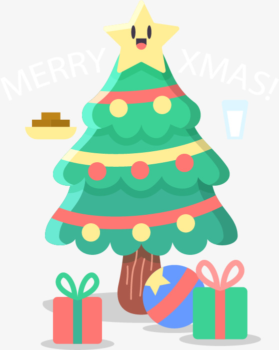 Cute Christmas Tree, Christmas Vector, Tree Vector, Christmas PNG.