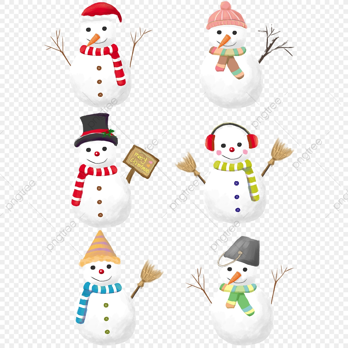 Cute Christmas Snowman Illustration, Cartoon, Cute, Christmas PNG.