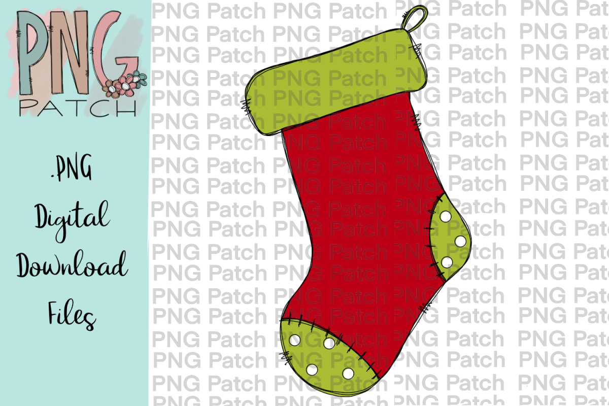 Green Toed Stocking, Christmas PNG File, Sublimation.