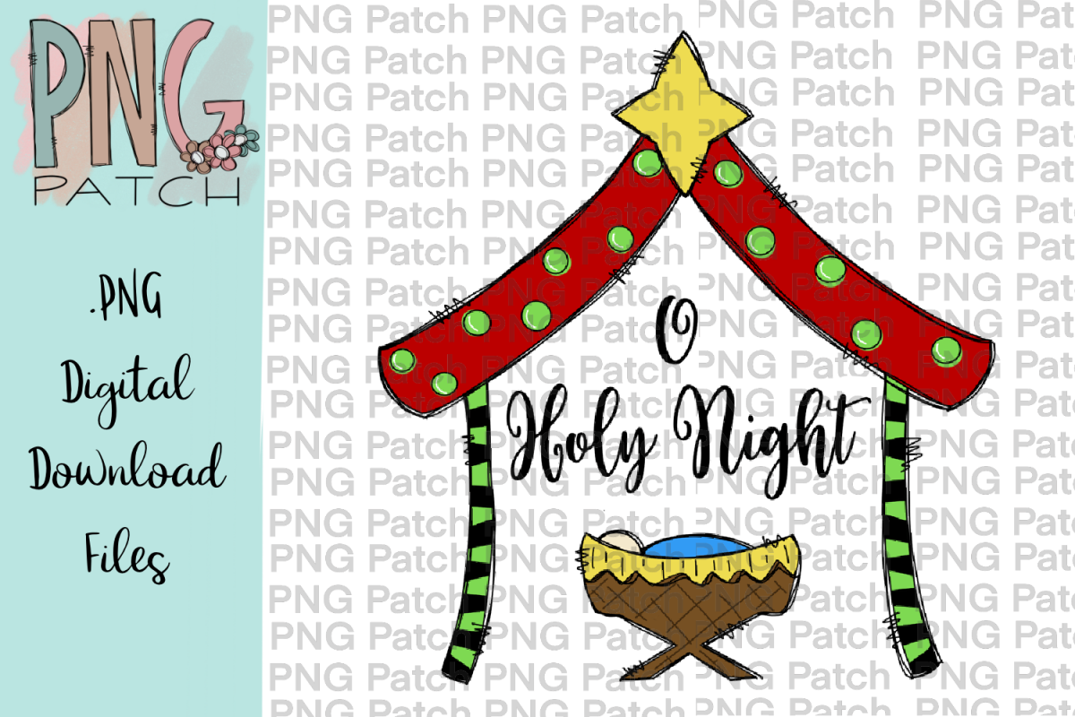 O Holy Night, Cute Colorful Manger, Christmas PNG File.