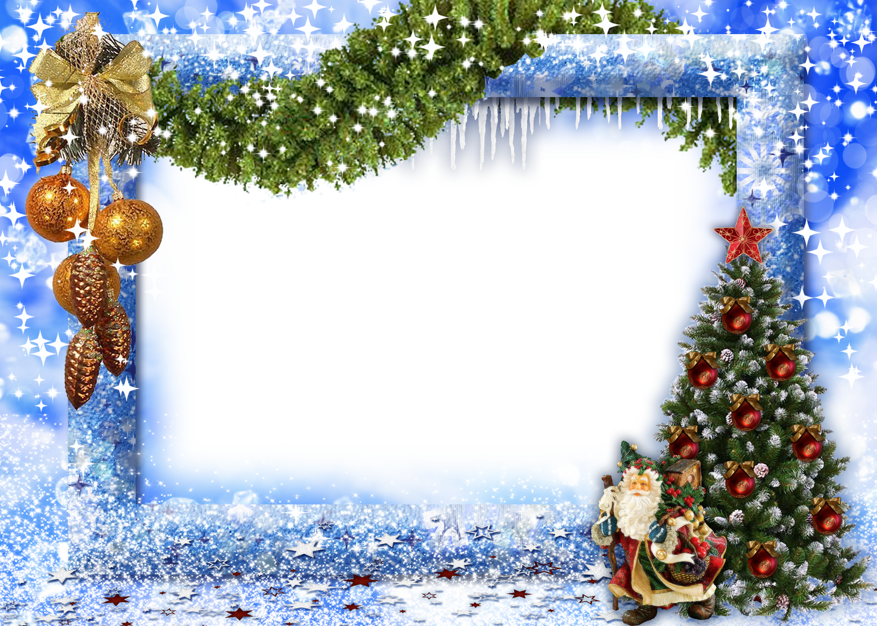 Transparent Clipart Image Blue Christmas Frame png two.