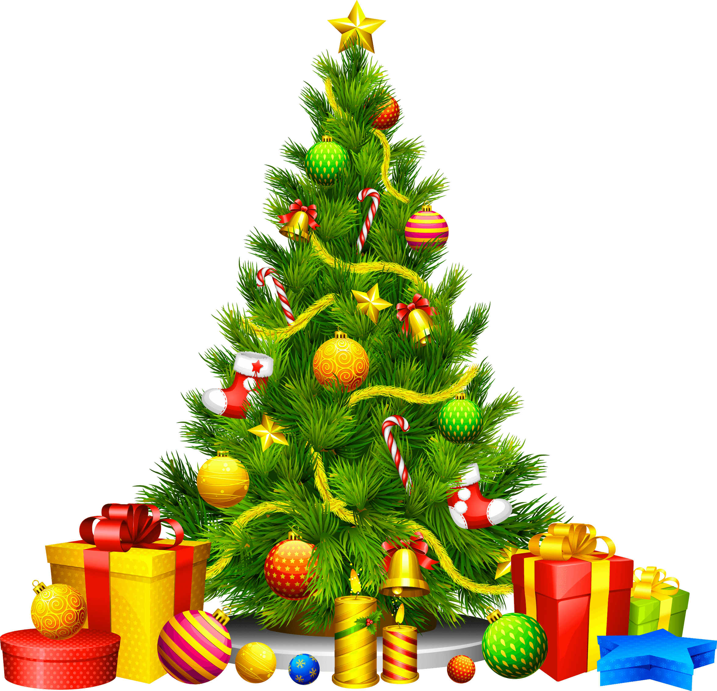 Gifts Cartoon Christmas Fir Tree Png Image.