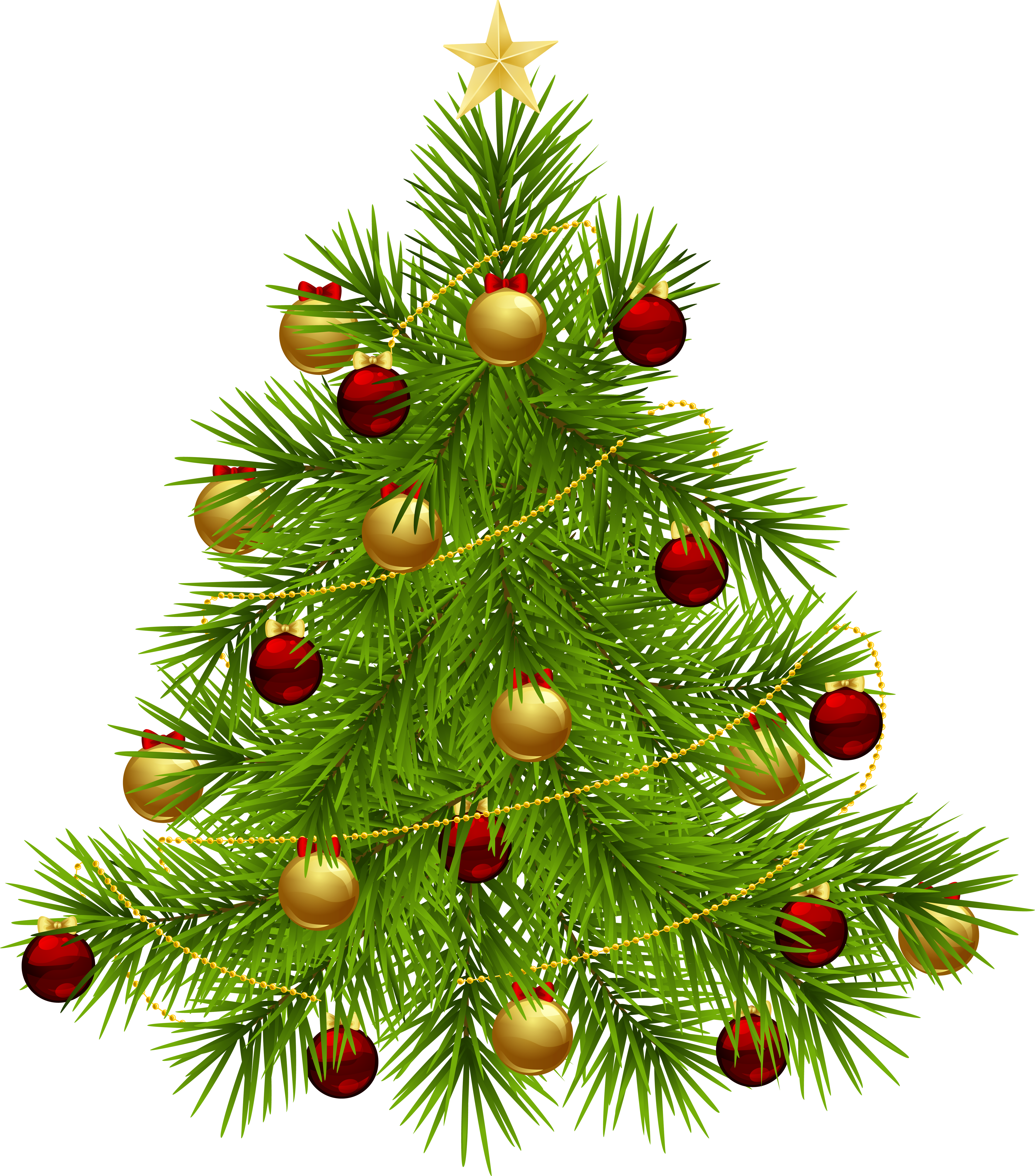 Transparent PNG Christmas Tree with Ornaments.