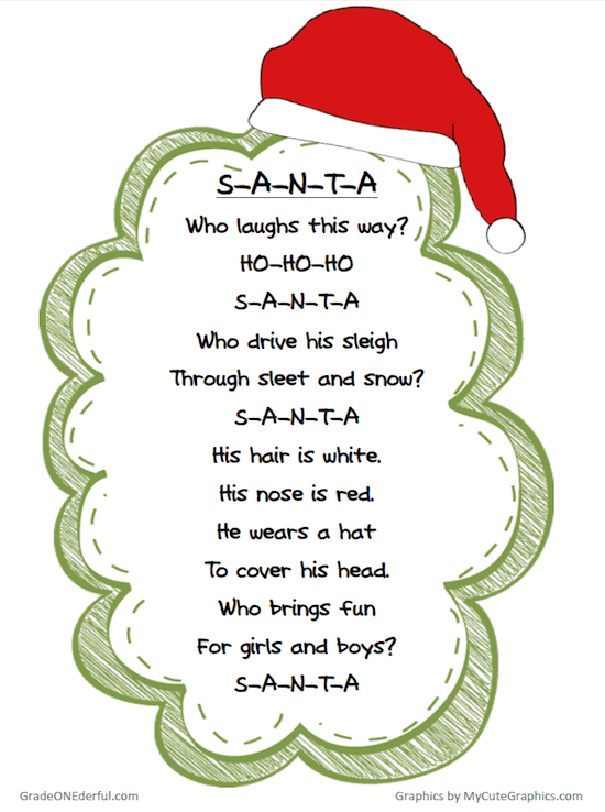 Free Christmas Poem Printable.