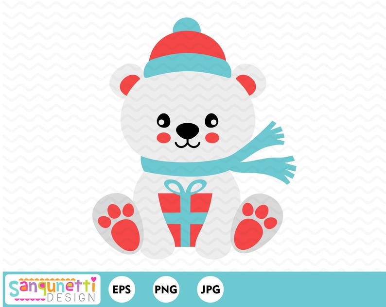 Christmas Polar bear clipart holding a gift, winter graphic.
