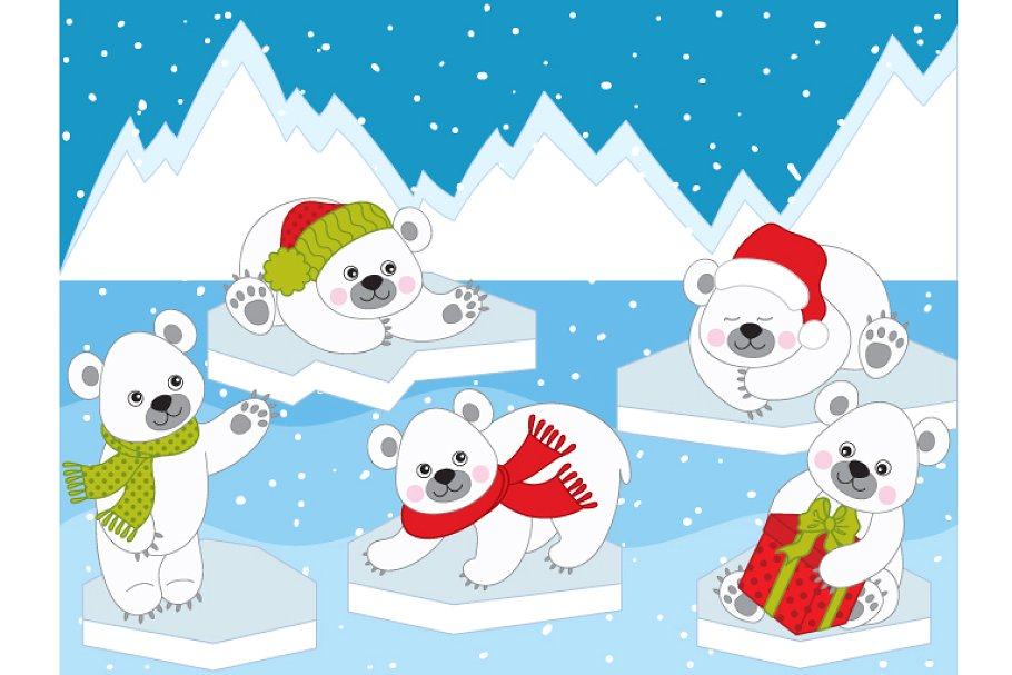 Vector Christmas Polar Bears.