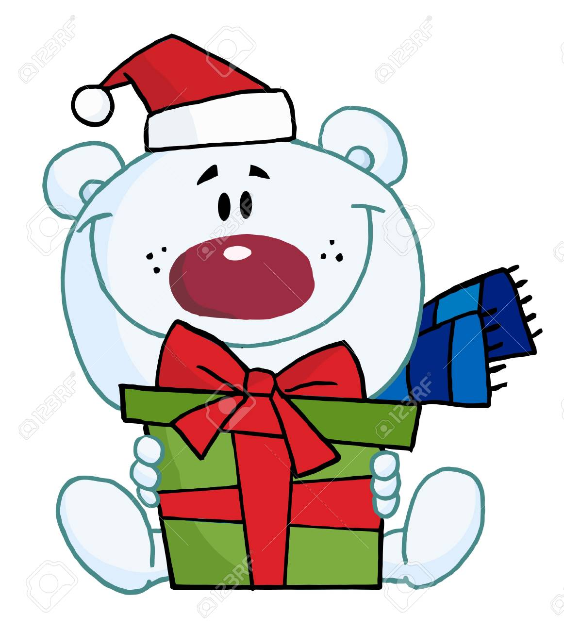 Christmas Polar Bear Holding A Gift.
