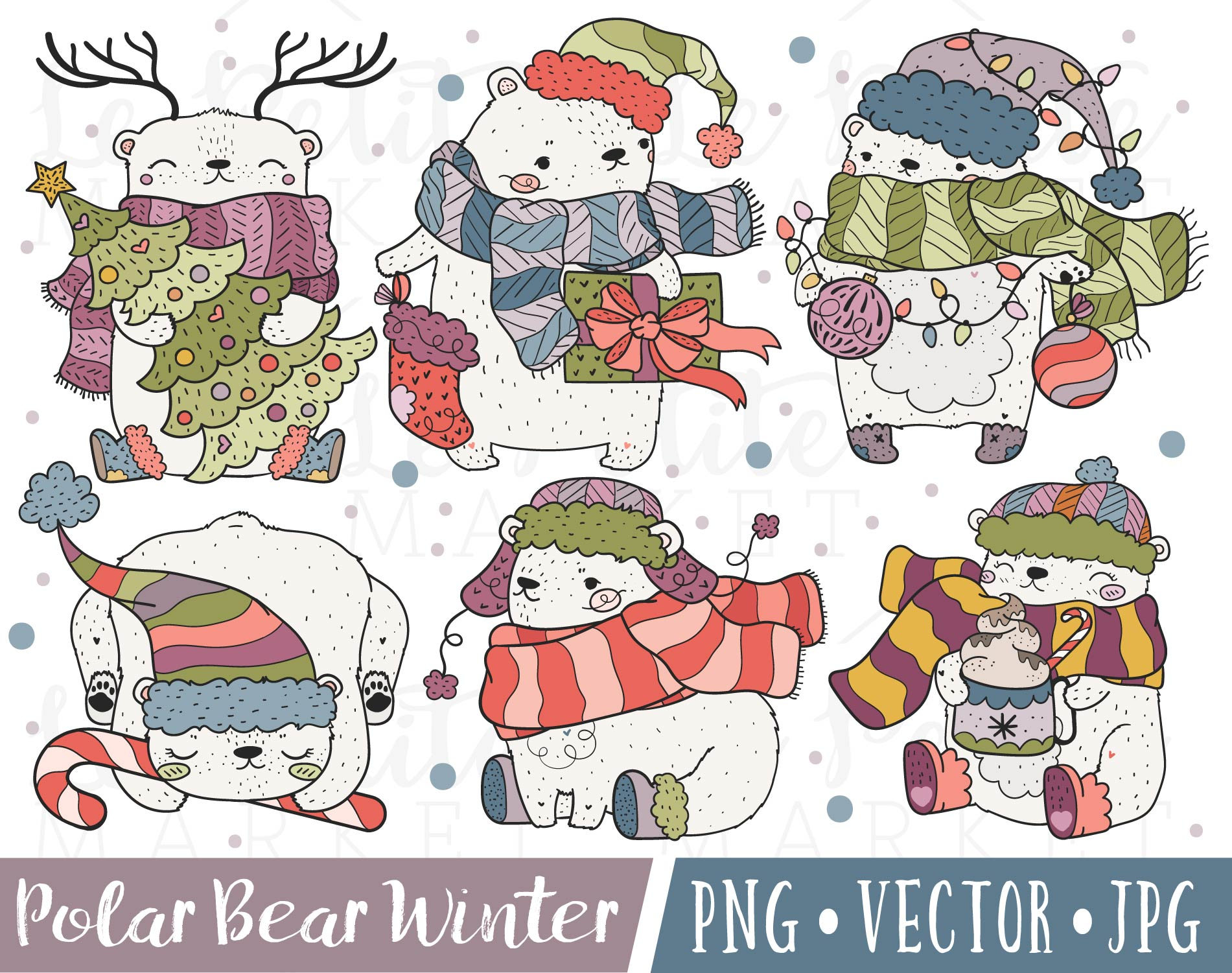 Cute Christmas Polar Bear Clipart Images, Polar Bear Clip Art, Polar Bear  Illustrations, Kawaii Holiday Bears, Winter Bear Clipart Set.