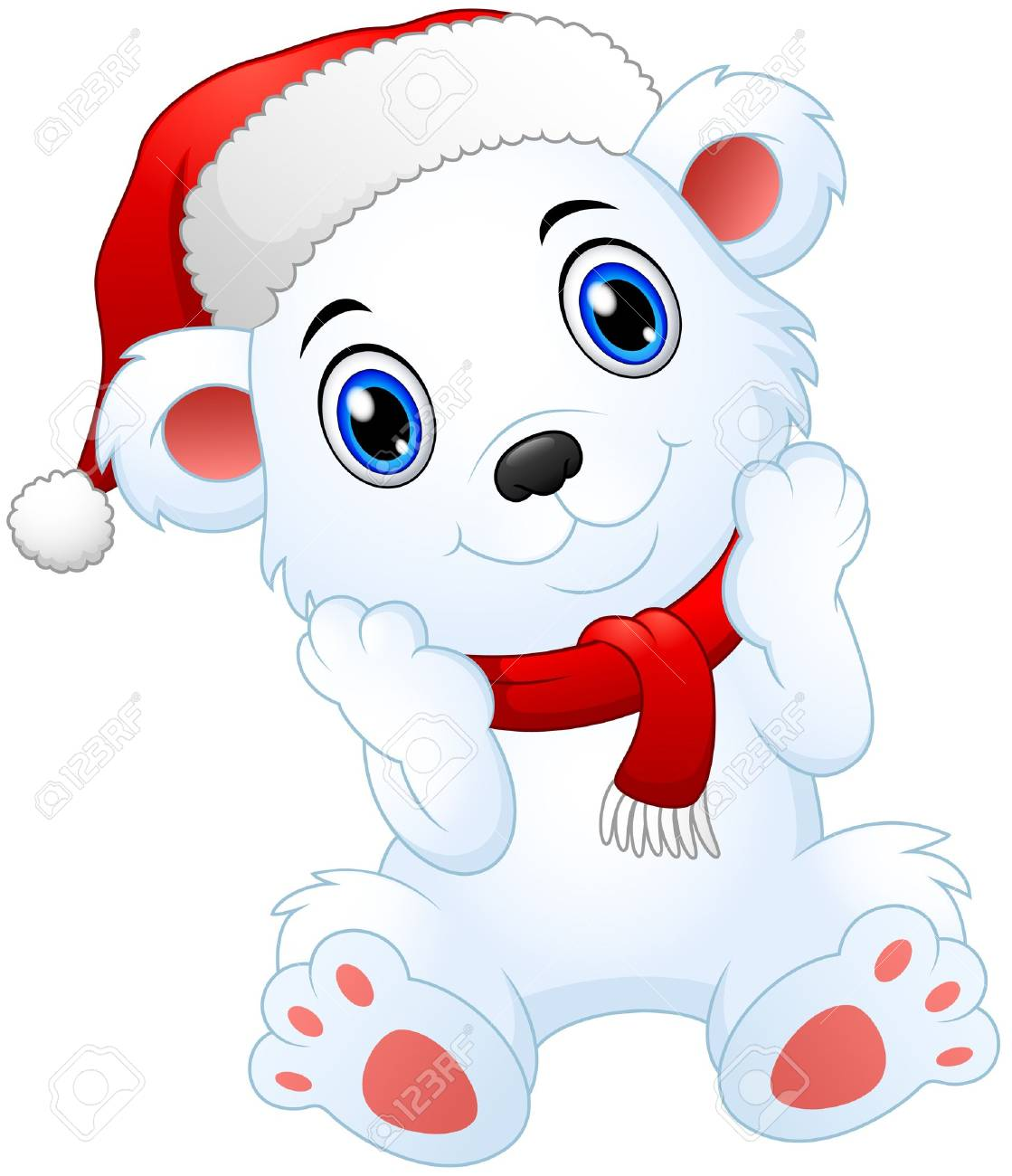 Vector illustration of Cute christmas polar bear cartoon.