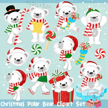 Christmas Polar Bear Bears Clipart Set.