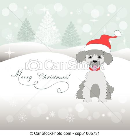 Christmas card with puppy poodle.