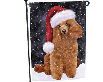 Let it Snow Christmas Holiday Poodles Dog Wearing Santa Hat Garden.