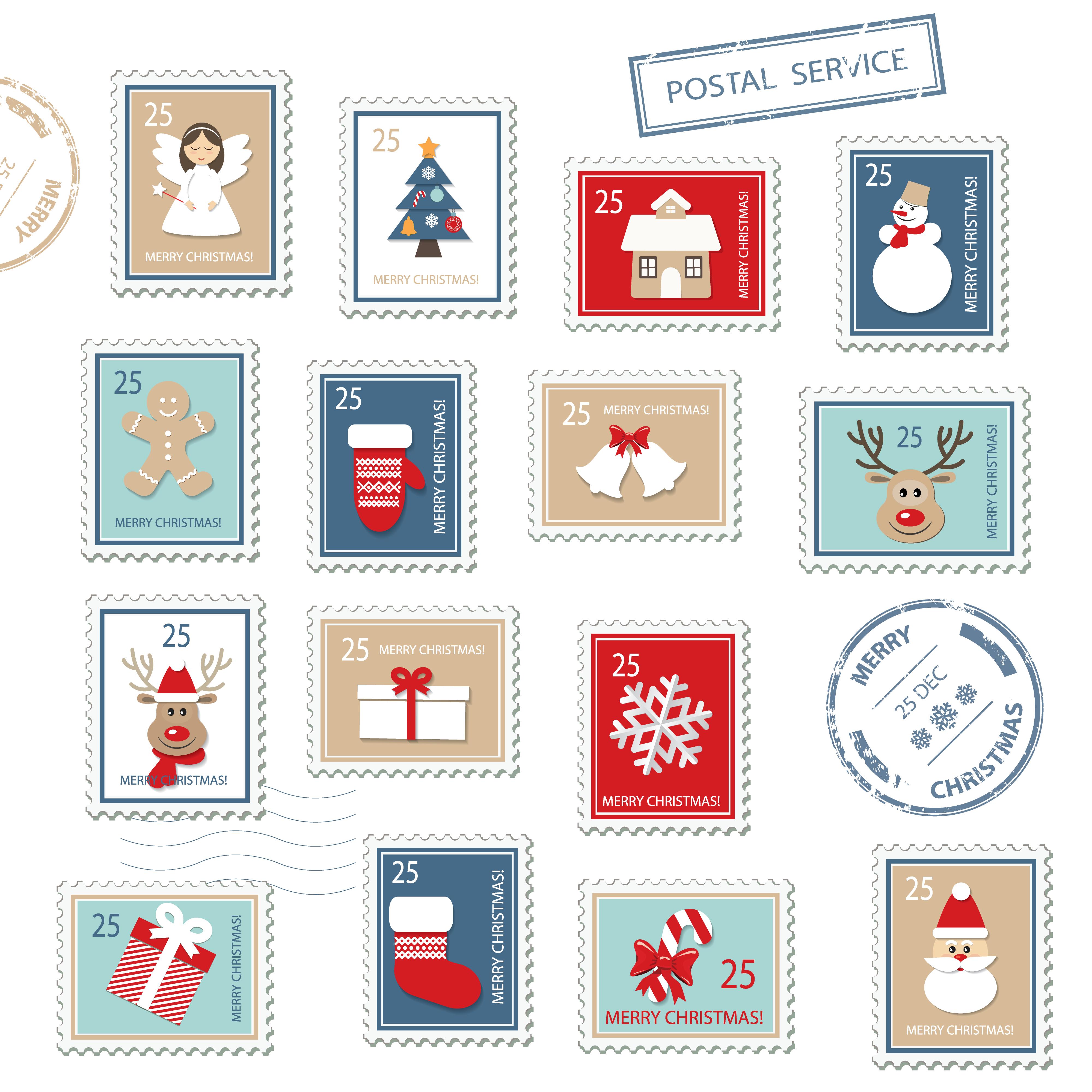 Christmas postal stamps set.