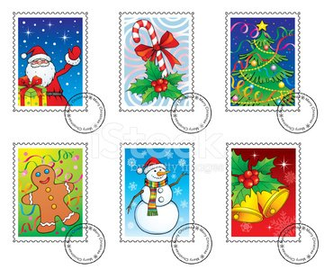Christmas postage stamps Clipart Image.
