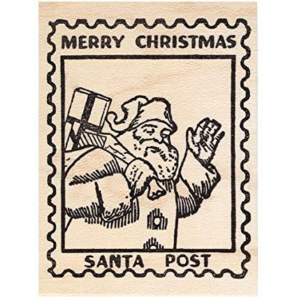 Amazon.com: Santa Post Rubber Stamp Christmas Faux Postage.